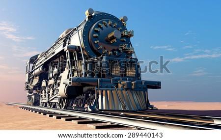 Old steam locomotive in the desert. - stock photo