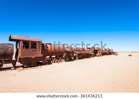 Old steam Locomotive in Train Cemetery near Uyuni, Bolivia - stock photo