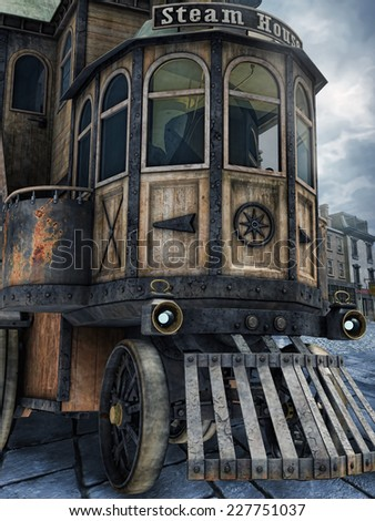 Old steam vehicle in a street of a Victorian town - stock photo