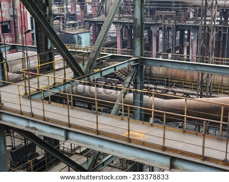 old steel mill structure - stock photo