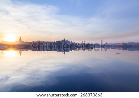 Old Stock Exchange, Spit of Vasilievsky Island and Rostral Columns in St. Petersburg, Russia - stock photo