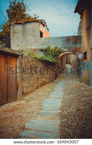 Old stone ally in Porto, Portugal. - stock photo
