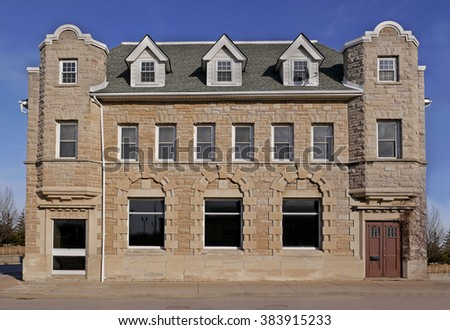 old stone bank building - stock photo
