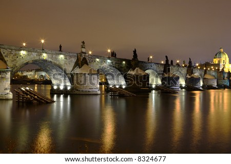 old stone bridge Charles Prague medieval landmark night travel - stock photo