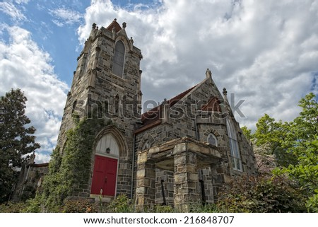 Old Stone church in georgetown dc washington houses on sunny spring day - stock photo