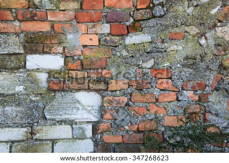 old stone fence falling apart  big background  - stock photo