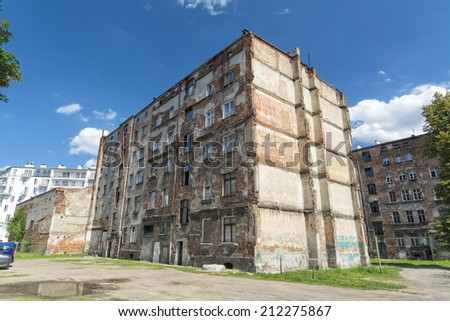 Old stone house in Wroclaw intended for demolition. Poland. - stock photo
