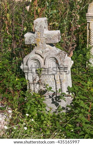 Old stone orthodox graves and crosses - stock photo