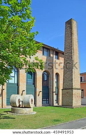 Old stone plant at Ravenna harbor - stock photo