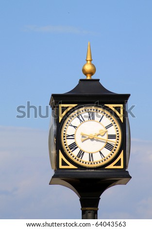 Old street clock in Tbilisi, Georgia - stock photo