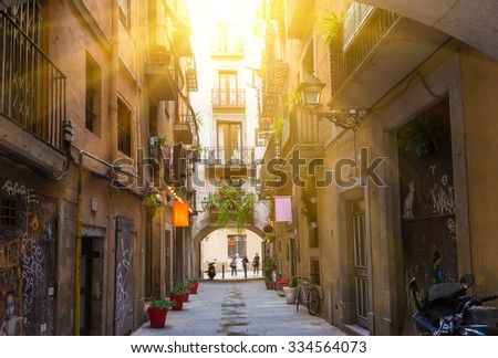 Old street in Barcelona. Spain - stock photo