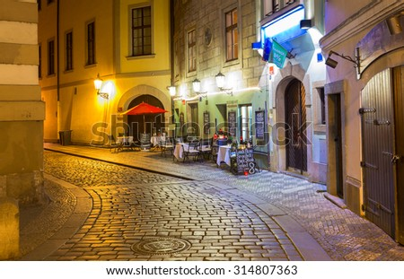 Old street in Prague at night. Czech Republic - stock photo