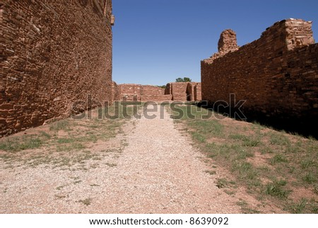 Old street in Salinas ruin site, New Mexico - stock photo