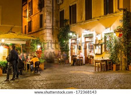 Old street in Trastevere in Rome. Italy - stock photo