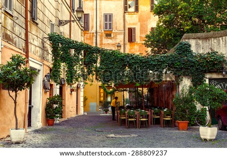 Old street in Trastevere in Rome, Italy - stock photo
