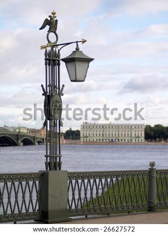 Old street lamp on bridge in Saint-Petersburg, Russia - stock photo