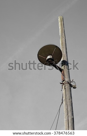old street lamp on the roadside in Magdeburg  - stock photo