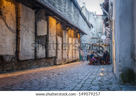 Old Street of Tallinn Estonia - stock photo