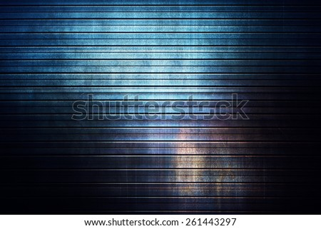 Old striped metal texture. Dark contrast colors. - stock photo