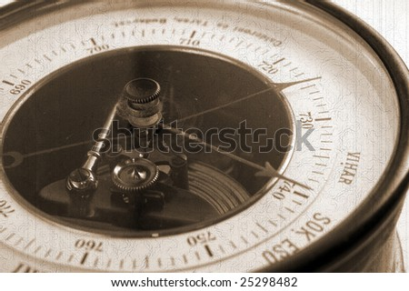 Old-style barometer - stock photo