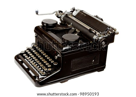 Old Style Dusty Typewriter Isolated on White - stock photo