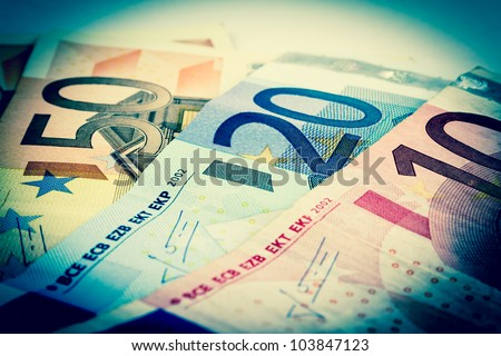 Old style euro banknotes - stock photo
