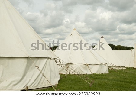 Old Style Military Tents - stock photo