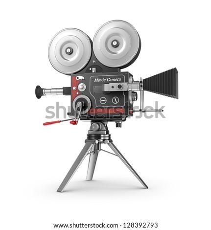 Old style movie camera - stock photo