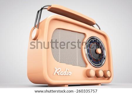 Old Style Photo. Closeup Vintage Radio on a white background - stock photo