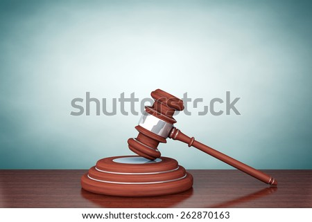 Old Style Photo. Judge Gavel and Sound Block on the table - stock photo