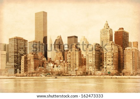 Old style photo of lower Manhattan in New York. - stock photo