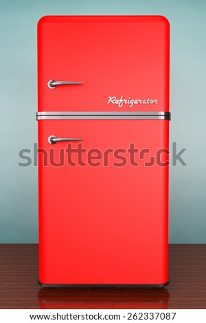 Old Style Photo. Retro refrigerator on the floor - stock photo