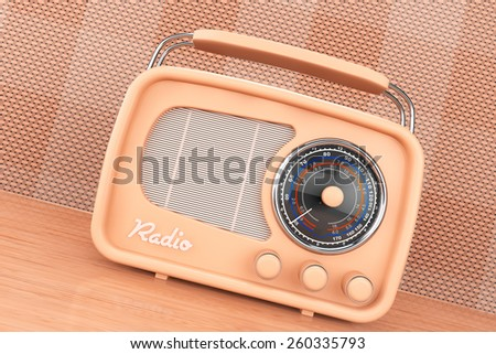 Old Style Photo. Vintage Radio on table front wall background - stock photo