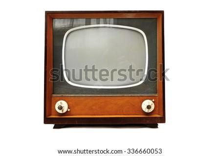 Old style Retro Tv isolated on white background - stock photo
