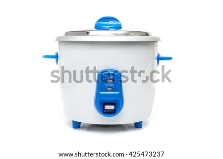 Old Style Rice Cooker on white background. - stock photo