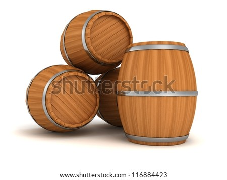 old style wooden barrels on white background - stock photo