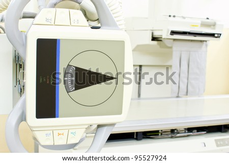 Old style x ray machine close up view. - stock photo