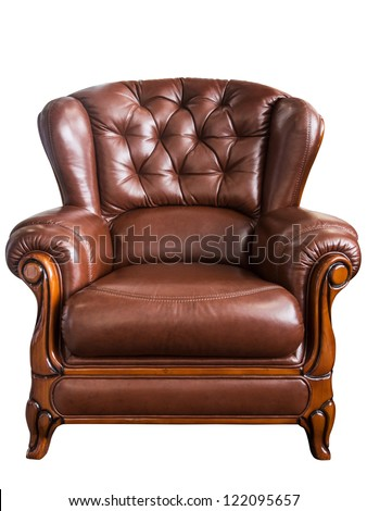 Old styled brown vintage armchair isolated on white background - stock photo