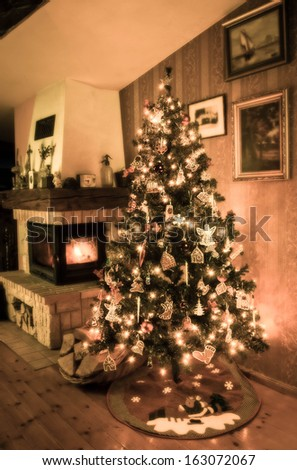 old styled christmas tree decorated  - stock photo