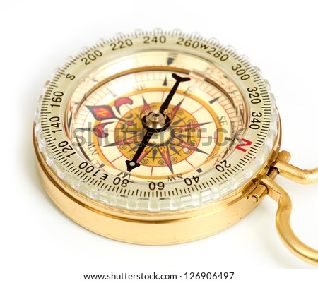 old styled, gold compass isolated on white background - stock photo