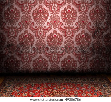 Old Styled Interior and a Persian carpet - stock photo