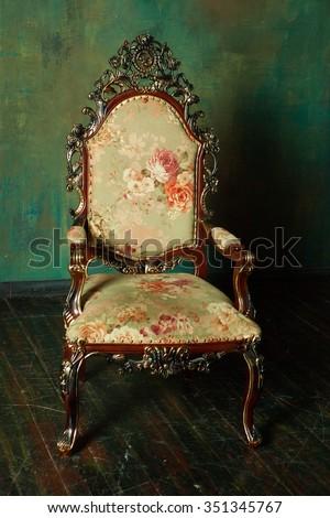 Old Styled Interior, dark tones - stock photo