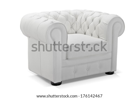 Old styled white vintage armchair isolated on white background, studio shot - stock photo