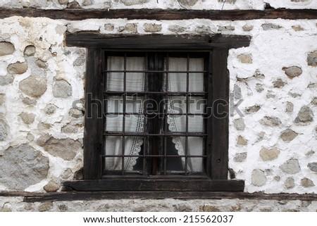 Old stylish window, wooden window - stock photo