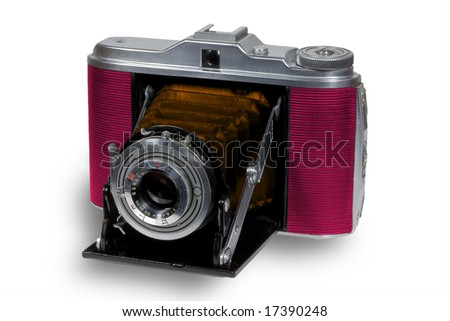 Old stylized folding camera - stock photo