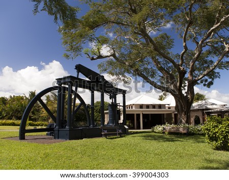 Old sugar cane factory - the museum on Mauritius - stock photo
