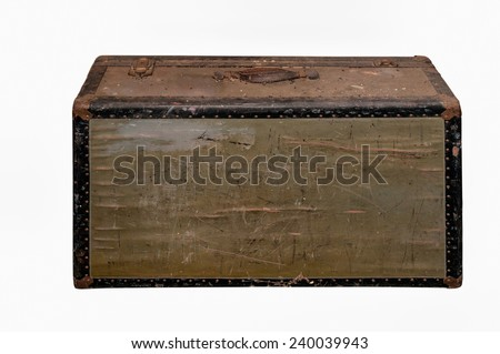 Old suitcase isolated on white - stock photo