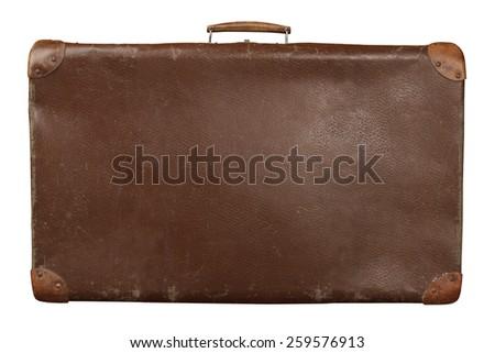 Old suitcase isolated on white background. Vintage travel luggage - stock photo