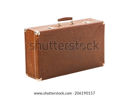 old suitcase trunk isolated on white - stock photo