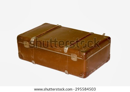 Old suitcase with clipping path, isolated background - stock photo